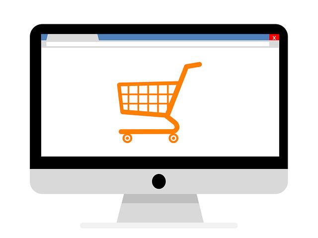elektronický oranžový nákupní košík